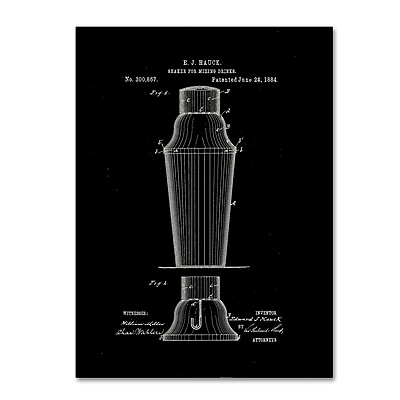 """Trademark Fine Art Claire Doherty 'Cocktail Shaker Patent 1884 Black' 14"""" x 19"""" Canvas Stretched (886511939899)"""