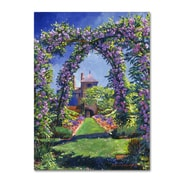 "Trademark Fine Art David Lloyd Glover 'English Rose Arbor' 14"" x 19"" Canvas Stretched (190836225149)"