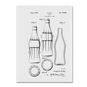 "Trademark Fine Art Claire Doherty 'Coca Cola Bottle Patent 1937 White' 14"" x 19"" Canvas Stretched (886511940215)"