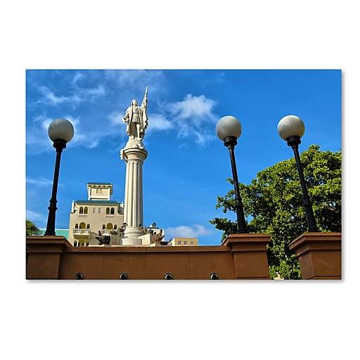"Trademark Fine Art CATeyes 'Plaza Colon San Juan' 12"" x 19"" Canvas Stretched (190836040759)"