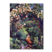 "Trademark Fine Art David Lloyd Glover 'Rose Arbor Pathway' 14"" x 19"" Canvas Stretched (190836227525)"