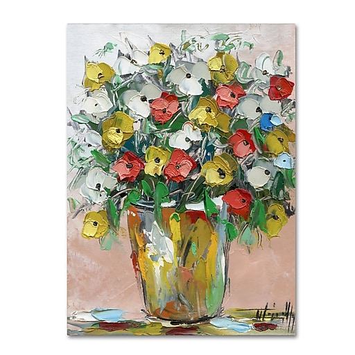 "Trademark Fine Art Hai Odelia 'Spring Flowers in a Vase 6' 12"" x 19"" Canvas Stretched (190836068104)"
