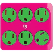 Ge 25110 Uber 6-outlet Power Tap (pink & Green)
