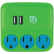 Ge 25113 Uber 3-outlet Power Tap With 2 Usb Ports (green & Blue)