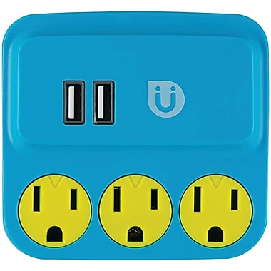 Ge 25114 Uber 3-outlet Power Tap With 2 Usb Ports (blue & Yellow)