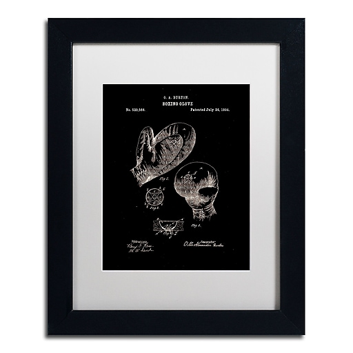 """Trademark Fine Art Claire Doherty 'Boxing Gloves Patent 1894 Black' 11"""" x 14"""" Matted Framed (886511939172)"""