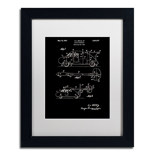 """Trademark Fine Art Claire Doherty 'Flying Car Patent 1941 Black' 11"""" x 14"""" Matted Framed (886511939592)"""
