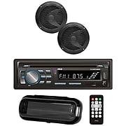 "Pyle Plcdbt75mrb Marine Single-din In-dash Cd Am/fm Receiver w/ Two 6.5"" Speakers, Splashproof Radio Cover & Bluetooth, Blk"