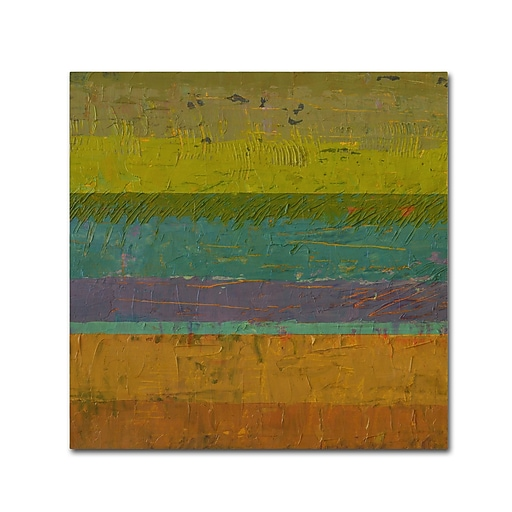 """Trademark Fine Art Michelle Calkins 'Chartreuse Line' 18"""" x 18"""" Canvas Stretched (190836070879)"""