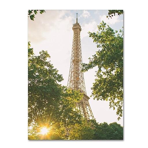 """Trademark Fine Art Ariane Moshayedi 'Eiffel Tower Sunset' 14"""" x 19"""" Canvas Stretched (190836268061)"""