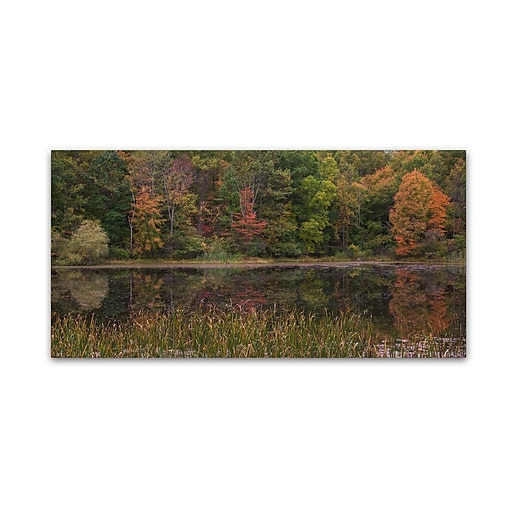 "Trademark Fine Art Kurt Shaffer 'October on the Pond' 10"" x 19"" Canvas Stretched (886511965324)"