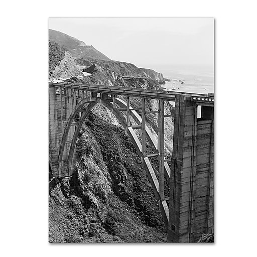 "Trademark Fine Art Ariane Moshayedi 'Bixby Bridge BW' 14"" x 19"" Canvas Stretched (190836264568)"