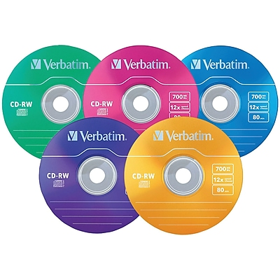 Verbatim 96685 700mb Datalifeplus Cd-rws with Color-branded Surface, 20-ct Slim Case