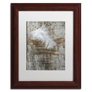 "Trademark Fine Art Cora Niele 'White Feather on Wood' 11"" x 14"" Matted Framed (190836256068)"