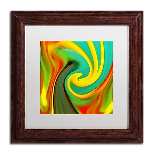 "Trademark Fine Art Amy Vangsgard 'Abstract Flower Unfurling Square 1' 11"" x 11"" Matted Framed (886511933392)"