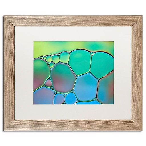 """Trademark Fine Art Cora Niele 'Lime Green and Blue Stained Glass' 16"""" x 20"""" Matted Framed (190836253814)"""