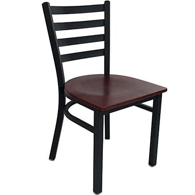 Advantage Ladder Back Restaurant Chair With Mahogany Wood Seat, 28 Pack (RCLB-BFMW-28)