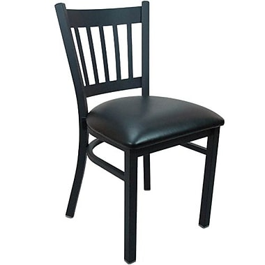 Advantage Vertical Slat Back Restaurant Chair - Black Padded (RCVB-BFBV-2)