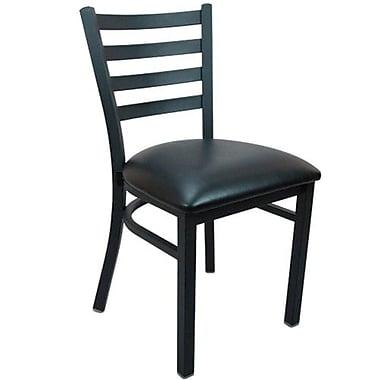 Advantage Ladder Back Restaurant Chair - Black Padded (RCLB-BFBV-2)