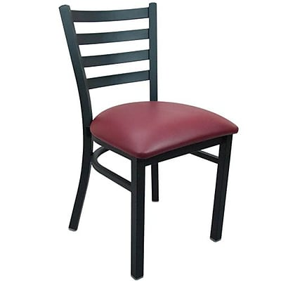 Advantage Ladder Back Restaurant Chair With Burgundy Vinyl Seat, 28 Pack (RCLB-BFRV-28)