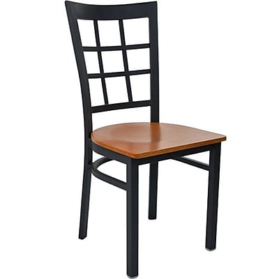 Advantage Window Pane Back Restaurant Chair With Cherry Wood Seat, 28 Pack (RCWPB-BFCW-28)
