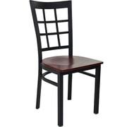 Advantage Window Pane Back Restaurant Chair - Mahogany Wood Seat (RCWPB-BFMW-2)