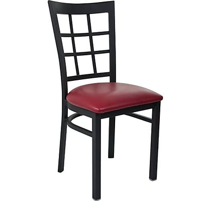 Advantage Window Pane Back Restaurant Chair With Burgundy Vinyl Seat, 28 Pack (RCWPB-BFRV-28)