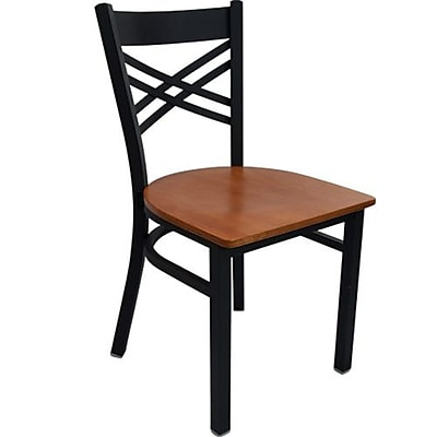 Advantage Cross Back Restaurant Chairs With Cherry Wood Seat, 28 Pack (RCXB-BFCW-28)
