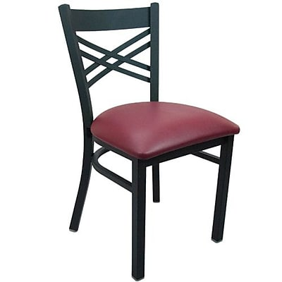 Advantage Cross Back Restaurant Chair - Burgundy Padded (RCXB-BFRV-2)