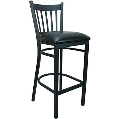 Advantage Vertical Slat Back Metal Bar Stool - Black Padded (BSVB-BFBV-2)
