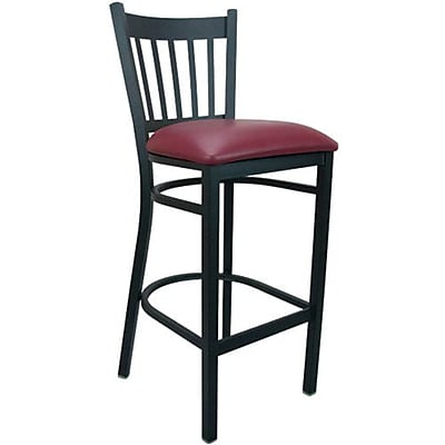 Advantage Vertical Slat Back Metal Bar Stool - Burgundy Padded (BSVB-BFRV-2)