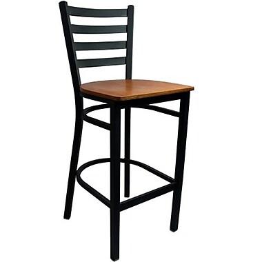 Advantage Ladder Back Metal Bar Stool - Cherry Wood Seat (BSLB-BFCW-2)
