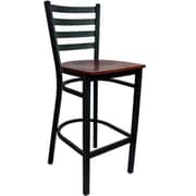 Advantage Ladder Back Metal Bar Stool - Mahogany Wood Seat (BSLB-BFMW-2)