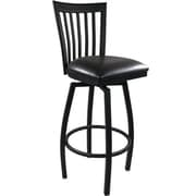 Advantage Vertical Slat Back Metal Swivel Bar Stool - Black Padded  (SBVB-BFBV-2)
