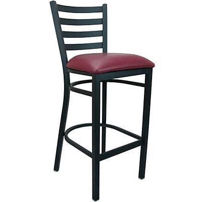 Advantage Ladder Back Metal Bar Stool - Burgundy Padded (BSLB-BFRV-2)
