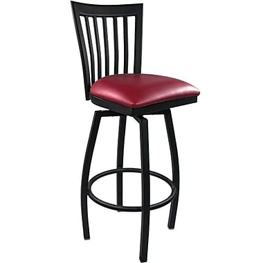 Advantage Vertical Slat Back Metal Swivel Bar Stool - Burgundy Padded (SBVB-BFRV-2)