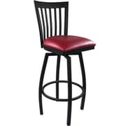 Advantage Vertical Back Metal Swivel Bar Stool Burgundy Padded, Pack of 20 (SBVB-BFRV-20)