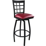 Advantage Window Pane Back Metal Swivel Bar Stool Burgundy Padded, 2 Pack (SBWPB-BFRV-2)