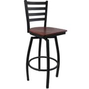 Advantage Ladder Back Metal Swivel Bar Stool - Mahogany Wood Seat (SBLB-BFMW-2)
