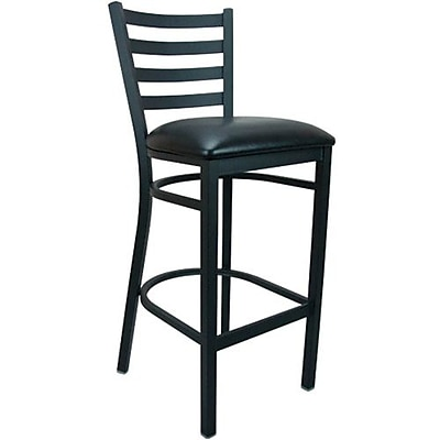 Advantage Black Vinyl Ladder Back Bar Stool [BSLB-BFBV-28]