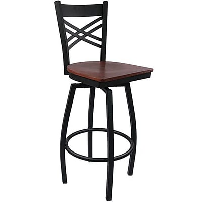 Advantage Cross Back Metal Swivel Bar Stool - Mahogany Wood Seat  (SBXB-BFMW-20)