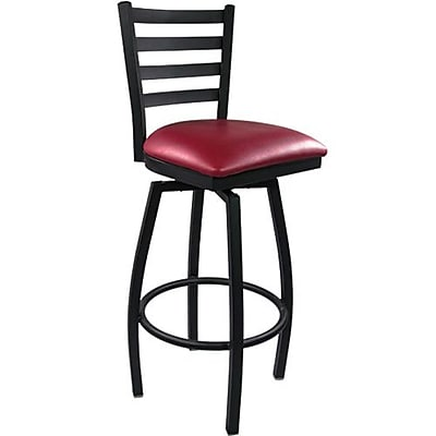 Advantage Ladder Back Metal Swivel Bar Stool Burgundy Padded, Pack of 20 (SBLB-BFRV-20)
