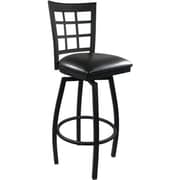 Advantage Window Pane Back Metal Swivel Bar Stool - Black Padded  (SBWPB-BFBV-20)
