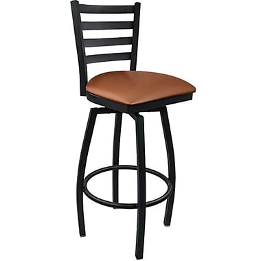 Advantage Ladder Back Metal Swivel Bar Stool - Mocha Padded (SBLB-BFMV-2)