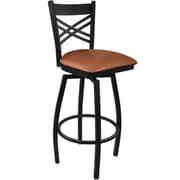 Advantage Cross Back Metal Swivel Bar Stool Mocha Padded, 2 Pack (SBXB-BFMV-2)
