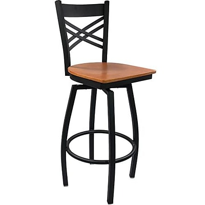 Advantage Cross Back Metal Swivel Bar Stool - Cherry Wood Seat (SBXB-BFCW-20)