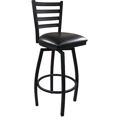 Advantage Ladder Back Metal Swivel Bar Stool - Black Padded (SBLB-BFBV-2)