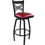Advantage Cross Back Metal Swivel Bar Stool Burgundy Padded, 2 Pack (SBXB-BFRV-2)
