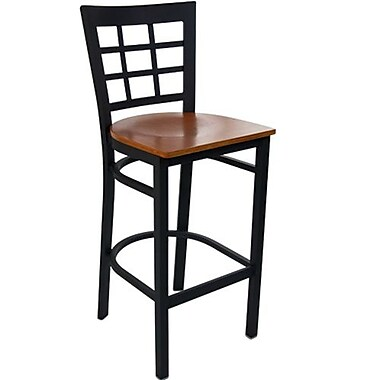 Advantage Cherry Wood Window Pane Back Bar Stool [BSWPB-BFCW-2]