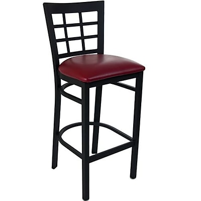 Advantage Window Pane Back Metal Bar Stool - Burgundy Padded (BSWPB-BFRV-2)